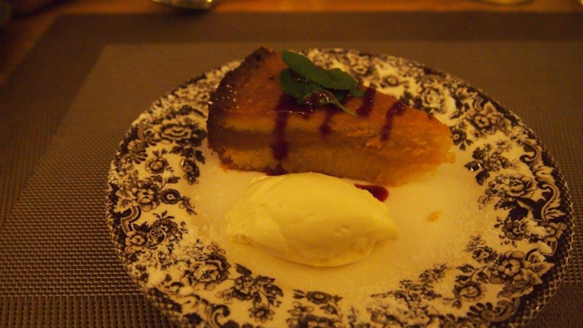Sticky almond cake, a firm favourite with our guests.